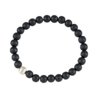 Stretch Holz Armband schwarz Silber Männer 8 mm