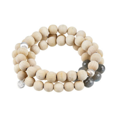 Stretch Wickel-Armband Holz Natur Silber Labradorit Sylvie Eder 10 mm