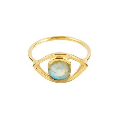 Ring Auge Labradorit Silber goldplattiert