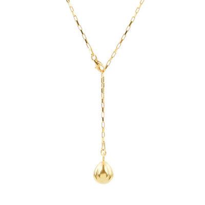Gliederkette Y-Kette Silber goldplattiert Bohne Lebenssymbol