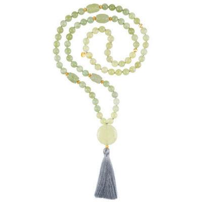 Gebetskette aus Jade mit silbergrauer Quaste
