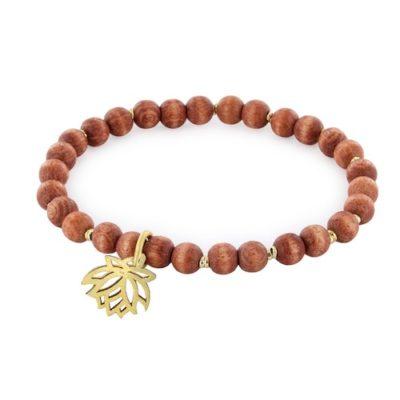 Stretch-Armband mit braunen Holzkugeln und goldenem Lotus-Anhänger