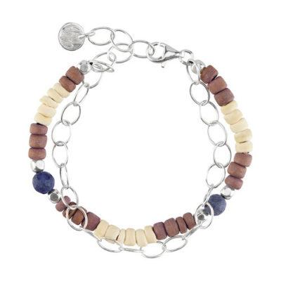 Doppel-Armband aus Kokos-Holz-Scheiben und Dumortierit mit 925er Silber Kette