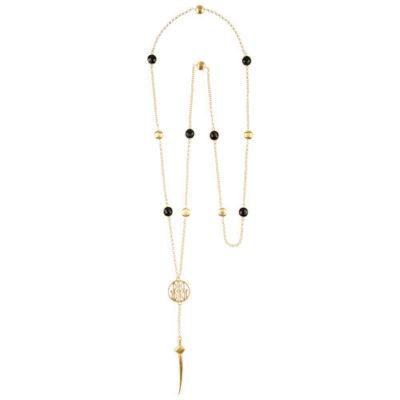 Lässige lange vergoldete Gliederkette mit Onyx-Zwischenteilen und Schwert-Anhänger