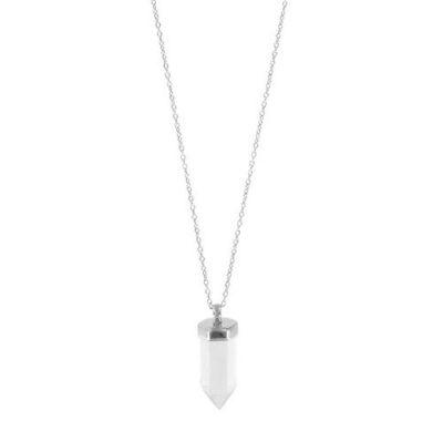 Längenverstellbare Kette mit Bergkristall-Spitze in 925er Silber