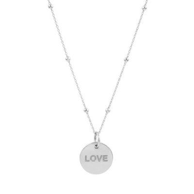 """Kugel-Anker-Kette mit rundem Anhänger mit dem Schriftzug """"LOVE"""" in 925er Silber"""