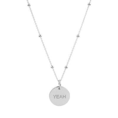 """Kugel-Anker-Kette mit rundem Anhänger mit dem Schriftzug """"YEAH"""" in 925er Silber"""
