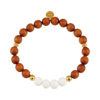 Stretch-Armband Holz & weisse Koralle