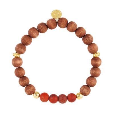 Elastik-Holz-Armband Roter Jaspis